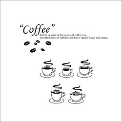Top-Me Coffee Decals Cafe Kitchen Wall Decal Love Cup Coffee Beans Vinyl Sticker Wall Decor Home Interior Design - Tm8306