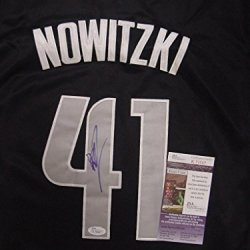 Dirk Nowitzki Dallas Mavericks Autographed Black Championship #41 Jersey Jsa Coa