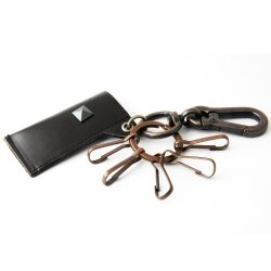 Leather Lighter Holder/ Key Chain W/Black Stud (Black) & 5 Carabiners (Black)