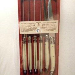Jean Dubost Laguiole 6-Piece Steak Knives, Bone