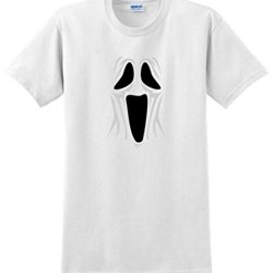Spooky Ghost Face T-Shirt Large White