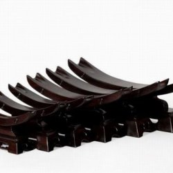 Chinese Rosewood Stand Mahogany Wood Knife Ivory Shelves Base Holder Hand Carved
