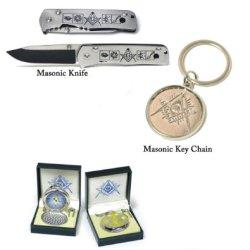 Masonic Knife Set 3. Knife, Pocket Watch And Key Chain