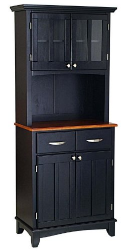 Image of Buffet Hutch with Cottage Oak Wood Top in Black Finish (VF_HY-5001-0046-42)