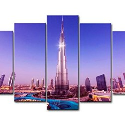 Purple 5 Panel Wall Art Painting World Tallest Tower Burj Khalifa Pictures Prints On Canvas City The Picture Decor Oil For Home Modern Decoration Print
