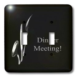 Lsp_43330_2 Beverly Turner Business Design - Dinner Meeting, Spoon Knife And Fork On Black, Business - Light Switch Covers - Double Toggle Switch