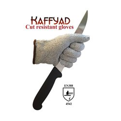 Kaffyad (Tm) Level 5 Cut Resistant Kitchen And Work Safety Gloves. Protection From Knives, Mandolines & Graters. En388 Certified! Great For Cutting Meat, Filleting Fish Or Shucking Oysters. Lightweight, Flexible And Food Safe. (Large, Grey Pair)