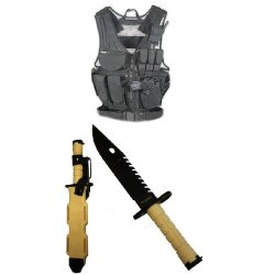 Ultimate Arms Gear Stealth Black Lightweight Edition Tactical Scenario Military-Hunting Assault Vest W/ Right Handed Quick Draw Pistol Holster + Tan Special Forces Series M9 M-9 Military Sawback Survival Stealth Black Blade Bayonet Knife With Tactical She