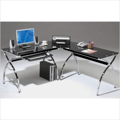 Picture of Comfortable Mad Tech 30x55x60.75 Black Glass Panels & Chrome Frame Computer Office Desk Table (B004W0MJLM) (Computer Desks)