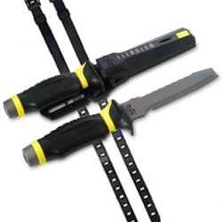 Uk Blue Tang Blunt Tip Titanium Scuba Dive Knife With Sheath & Straps (Black/Yellow)
