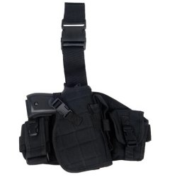 Armstac® Molle Platform Drop Leg Holster [S4] Pistol Holster With Molle Pouches, Quick Detach Release Buckle, Adjustable Straps, In Black Color + Armstac® Lifetime Warranty & Tech Support