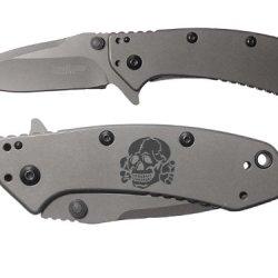 Skull Deathhead Ss Engraved Kershaw Cryo 1555Ti Folding Speedsafe Pocket Knife By Ndz Performance