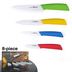 """Kitchen 8-Piece Advanced Ceramic Knives Set - 4 Color Handle Kitchen Knives With Sheaths- [6"""" Chef'S ] [5"""" Utility] [ 4"""" Paring] [3"""" Fruit Knife] - Minimalist Gift Package"""