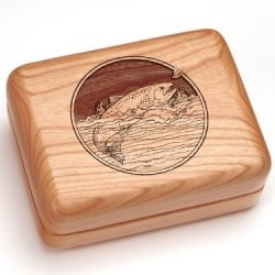 """3X4"""" Box With Money Clip/Pocket Knife - Trout"""