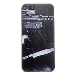 Machine Gun And Knife Pattern Anti-Scratch Matte Pc Hard Case For Iphone 5/5S