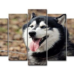 5 Panel Wall Art Painting Husky Dog Pictures Prints On Canvas Animal The Picture Decor Oil For Home Modern Decoration Print