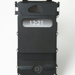 Columbia River Knife And Tool Inox4Kx2 Iphone 4 And 4S Case 180-Degree Lid, Stainless Steel With Black Finish