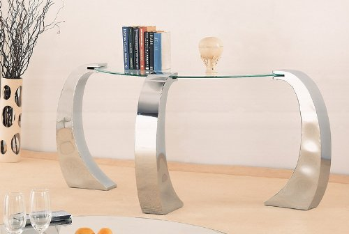 Image of Unique Design Glass Top Occasional Sofa Console Table (VF_720059)