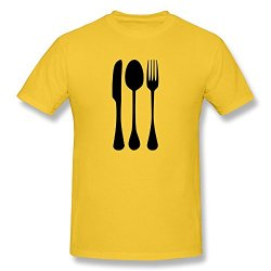 Fork Knife Spoon Cool Casual Yellow T Shirts For Mens Size L