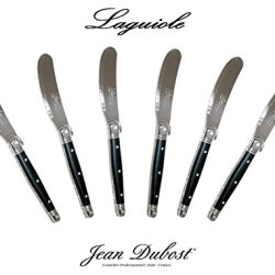 """French Laguiole Dubost - Black - Set Of 6 Butter Knives - Stainless Steel Lemmet (Genuine Quality Family Dinner Dark Color Table Flatware/Cutlery Spreaders Setting For 6 People - Each Knife: 6"""" - Manufactured In France - With Certificate Of Authenticity -"""