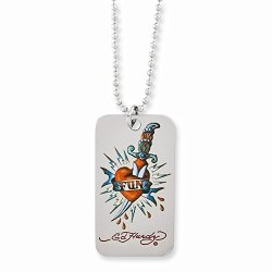 Ed Hardy Fun With Knife Dog Tag Necklace