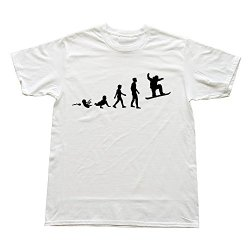 Goldfish Men'S Fashion Screw Neck Evolution Snowboarding T-Shirt White Us Size Xl