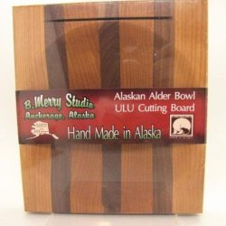 Alaska Ulu Alder Walnut Stripe Wood Chopping Bowl Board Top Slot