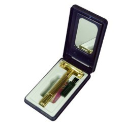Men'S Gold 18Kgp Traditional Butterfly Tto Double Edge Wet Shaving Safety Razor W/ Brush Mirror Blade Case
