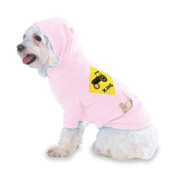 Tractor Crossing Hooded (Hoody) T-Shirt With Pocket For Your Dog Or Cat Size Small Lt Pink