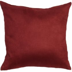 "Microfiber Polyester Faux Suede Deep Red, 16""X16"" Decorative Indoor Throw Pillow; Fully Assembled And Stuffed In The U.S.A"