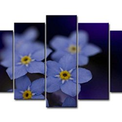 Purple 5 Piece Wall Art Painting Blue Forget-Me-Not With Yellow Stamen Pictures Prints On Canvas Flower The Picture Decor Oil For Home Modern Decoration Print For Bedroom