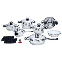7 Ply 16Pc Stainless Steel Cookware Set Pots Pans Lid Casserole Saucepan Steamer