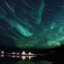 Aurora And Star Trails Wall Decal - 52 Inches W X 35 Inches H - Peel And Stick Removable Graphic
