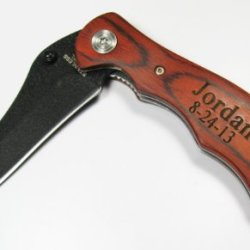 Personalized Engraved Pocket Knife Rosewood Handle Holiday Birthday Groomsmen Groomsman Gift Se2