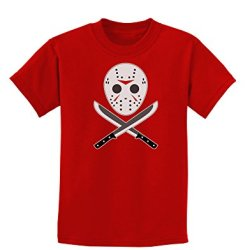 Scary Mask With Machete - Halloween Childrens Dark T-Shirt - Red - Small