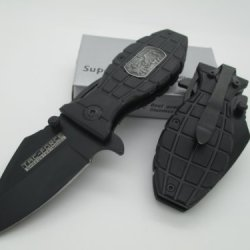 Tac-Force Assisted Opening Linerlock Belt Clip Special Forces Grenade Design A/O Speed Rescue Knife
