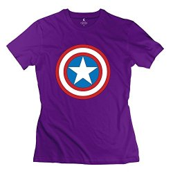 Women Captain America Logo Tshirts - Hot Design Purple T-Shirt