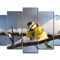5 Piece Wall Art Painting Blue Tit Stand In The Branch In Winter Pictures Prints On Canvas Animal The Picture Decor Oil For Home Modern Decoration Print For Bedroom
