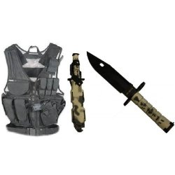 Ultimate Arms Gear Stealth Black Lightweight Edition Tactical Scenario Military-Hunting Assault Vest W/ Right Handed Quick Draw Pistol Holster + Urban / Snow Camo Camouflage M9 M-9 Military Survival Stealth Black Blade Bayonet Knife With Tactical Sheath S