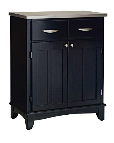 Image of Server Sideboard with Stainless Steel Top in Black Finish (VF_HY-5001-0043)