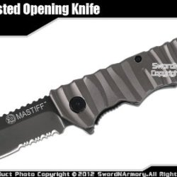 Mastiff Folding Spring Assisted Tactical Knife Titanium Coated 7Cr17Mov Blade Gy