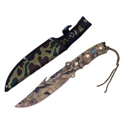 Yes4All H266B Tactical Hunting Survival Knife Skinner Bowie Fixed Blade With Camouflage Nylon Sheath - Speicial Promotion - ²H7Enz