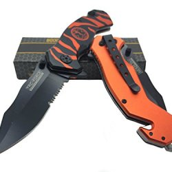 Tac Force Special Force Knife Design With Black Half Serrated Stainless Steel Blade And Orange Zeabra Handle