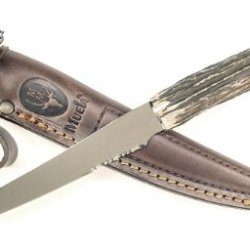Ruko 8-Inch Blade Filet Knife With Genuine Deer Horn Handle And Leather Sheath