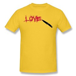 Pcy Men'S Custom Printed Love Knife Scratched Unique T Shirt M Yellow