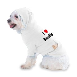I Love/Heart Brooklyn Hooded T-Shirt For Dog Or Cat X-Small (Xs) White