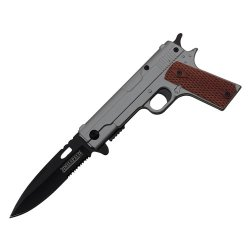 Spring Assisted Handgun Pocket Knife With Wooden Handle (Gray) Yc-S-8354-Gy