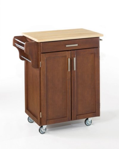 Image of Home Styles Small Kitchen Cart With Wood Top - Natural/Medium Cherry - 9001-0071 (VF_HY-9001-0071)