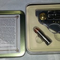 New The Legend Of Pancho Villa Straight Shooter Pocket Gun Revolver Folding Knife & Nice Tin Collectible Display Box With Letter Opener Bullet Knife