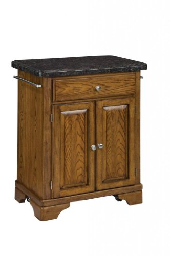 Image of Kitchen Cart with Salmon Granite Top in Oak Finish (VF_HY-9003-0065)